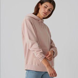 Frank & oak gym fleece hoodie blush medium nwt
